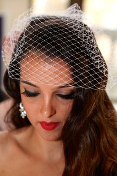 Birdcage Veil, Vintage Wedding/Bridal Veil, White 1940s Style Full Length- AUDREY by LacedUpWithString on Etsy