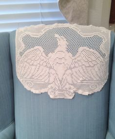 Vintage Machine Crochet Antimacassar with American Eagle by esmeelynne on Etsy