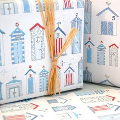 Dorset beach hut gift wrap, £1.50 by Julia Davey