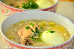 Arroz Caldo is a Chinese congee version in the Philippines. Rice Porridge, Chicken Soup, Filipino, Cheeseburger Chowder, Chinese, Window, Eat, Cooking, Ethnic Recipes