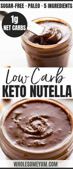 Sugar-Free Nutella Spread Recipe (Low Carb Paleo) - 5 Ingredients - This sugar-free Nutella recipe makes the perfect chocolate hazelnut spread. Low carb paleo sugar-free gluten-free and just delicious. Only 5 ingredients! Ketogenic Desserts, Keto Friendly Desserts, Low Carb Desserts, Dessert Recipes, Keto Recipes, Diet Desserts, Dessert Ideas, Ketogenic Diet, Sweet Recipes