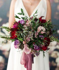 Moody burgundy + purple bouquet