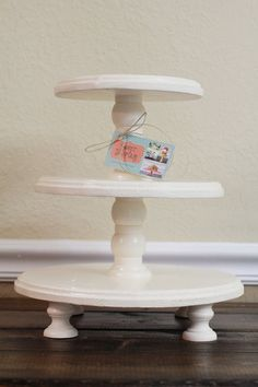 Short Three Tiered Round Wooden Cupcake Stand (Color of your choice). $50.00, via Etsy.