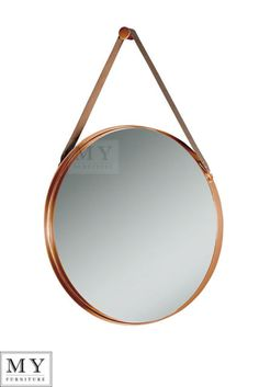 See the My-Furniture copper range of tables beds and accessories. A beautiful, contemporary mirror with an understated, industrial aesthetic. Exclusive in-house design featuring a unique stainless steel wall hanging peg. Round Hanging Mirror, Round Mirrors, Copper Mirror, Copper Wall, Mirrors With Leather Straps, Copper Bedroom, Wall Mirrors For Sale, Bathroom Under Stairs, Navy And Copper
