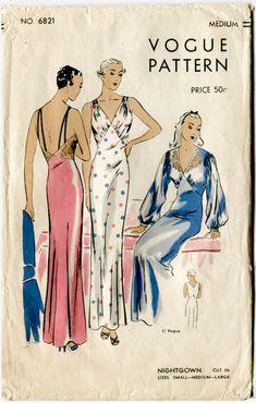 rare 1930s women's vintage lingerie sewing pattern art deco lace negligee long gown lace applique Medium bust 36 38 b36-38 Vogue 6821