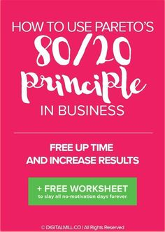 80% of any results you book in your business comes from only 20% of the efforts you put in.  What's important is to identify and focus your efforts on the tasks that DO create the major results.  READ THE POST to discover the THREE-STEP process you can use to discover the main tasks that matter the most and produce the maximum results (with FREE WORKSHEET). Sweet deal, right? >>