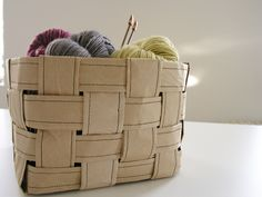 Recycled paper sewing basket. Now I know what to do with the packing paper from our next move!