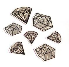 Temporary Tattoo Set  Diamonds and Coal by JollyGoodStudio on Etsy