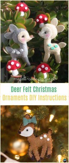 DIY Deer Felt Christmas Ornaments Instructions - DIY Felt Christmas Ornament Craft Projects [Picture Instructions]