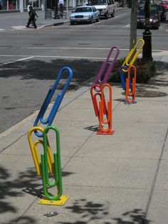 """Clip Art"", the new bike rack - Washington - USA - July 2010 - As part of its ongoing beautification program to bring public art and install more bike racks in the Golden Triangle Business Improvement District (BID) Street Art, Instalation Art, Bicycle Rack, Bicycle Clips, Bicycle Storage, Rack Design, Bike Design, Bike Parking, Wow Art"