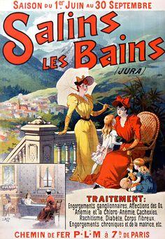 Vintage Railway Travel Poster  - Salins-les-Bains - Jura - France.