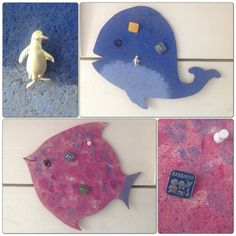 DIY - pinboards in the shape of a fish and a whale from old cork placemats