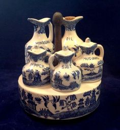 "Vintage Antique Japanese""Blue Willow""""Cruet Set"" marked Japan **PHENOMINAL SET**"