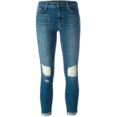 J Brand distressed skinny jeans ($330) ❤ liked on Polyvore featuring jeans, pants, blue, blue skinny jeans, ripped jeans, destroyed jeans, torn skinny jeans and destructed jeans