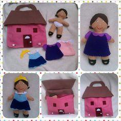 Felt+Paper+Doll+Set+House+Princess+Play+Dress+Take-Along+Car+Travel+Preschool+Pretend+Play+Set