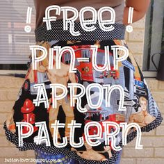 Free Pattern: Sew Grateful Freebie - Pin-Up half apron Apron with ruffles and sweetheart waistline