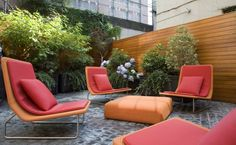 Captivating Garden Seating For Sparkling Outdoor Area : Colorful And Awesome Modern Garden Chairs With Cushions And Unique Table In A Modern Yard Contemporary Outdoor Furniture, Outdoor Garden Furniture, Garden Chairs, Outdoor Rooms, Outdoor Living, Terrace Garden, Modern Furniture, Pink Furniture, Rooftop Terrace