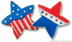 Here's a fun little tutorial on decorating some simple patriotic stars. Just in time for Independence Day coming up! Enjoy...  Bake a batch of star cookies using one of our recipes or your ...