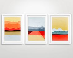 SALE Set of 3 Mid Century Modern Posters Abstract by evesand, $82.00