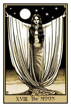 #tarot #moon I think the image is more representative of the moon's purest aspect, that is Atu II, the High Priestess.