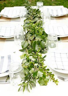 Garden table decoration green shrubs country style design garden table
