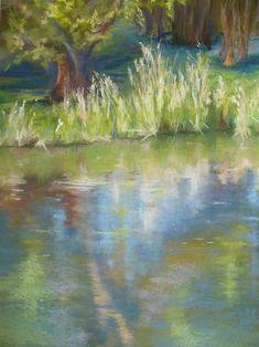 Bord de l'étang - Pastel 50x65