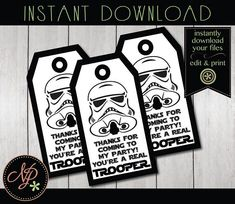 These Storm Trooper inspired birthday party favor tags are printable & editable. Star Wars Birthday Party favor tags feature Storm Troopers and coordinate with any Star Wars themed party. Print at home or at your local/online print shop. Your kiddo will LOVE sending home guests