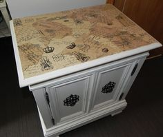 Using Paint and Mod Podge to Transform an Ugly Cabinet!