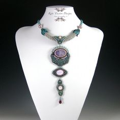 Verdigris Necklace Bead Embroidery di KateTractonDesigns su Etsy, $349.00