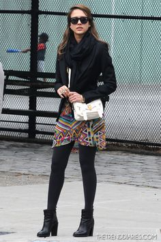 Black balanced with a bright print and cute white bag!