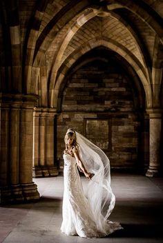 Brides dress floats in the breeze Elegant Bride, Chapel Wedding, Wedding Photography, Wedding Dresses, Glasgow, Breeze, Brides, Photographs, University