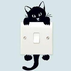 3pcs / set Fashion Autocollant Mural Kitten Commutateur Stickers meubles Stickers Cartoon Black Cat Decorative Wallpaper - Achat / Vente stickers - Cdiscount