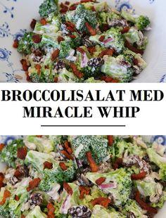 Skøn broccolisalat med rødløg og sprøde bacontern samt en forrygende dressing lavet med miracle whip.