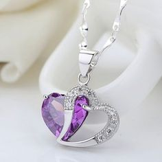 Heart-to-Heart Amethyst 925 Sterling Silver with Amethyst Necklace