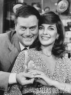 """In this 1981 publicity shot, Larry Hagman and Linda Gray are seen in the costumes they wear in """"Executive Wife,"""" a fourth-season """"Dallas"""" episode. Relive more memories at DallasDecoder.com."""