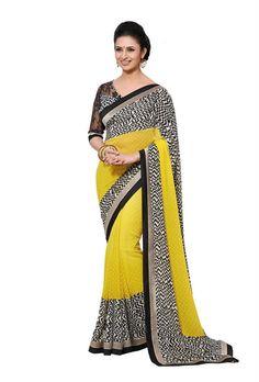 Beautiful Black and Yellow Print Bordered Exclusive Chiffon Saree D-109