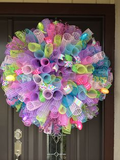 Easter spiral deco mesh wreath by kerri_posts wreath crafts, wreath ideas, Deco Mesh Crafts, Wreath Crafts, Diy Wreath, Wreath Ideas, Tulle Wreath, Easter Wreaths, Holiday Wreaths, Advent Wreaths, Ideas Actuales