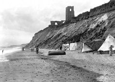 """A photograph taken in about 1910 and showing the remains of All Saints Church, Dunwich, close to the edge. The tower finally collapsed over . """"The Old Ways"""" """"Silt"""" page 72 Suffolk County, Lost City, Local History, Live In The Now, All Saints, British Isles, Cool Photos, Interesting Photos, Historical Photos"""