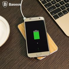 Baseus Flare Series QI Standard Wood Grain Quadrangle Wireless Charger for Smart Phones