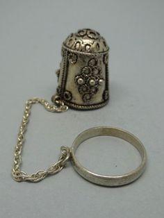 Silver Thimble and Ring. Thimble-Decal-Fingerhut.