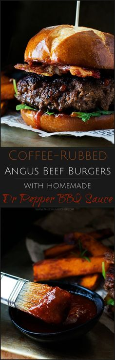Coffee Rubbed Burgers with Dr Pepper BBQ Sauce OneOfAKindFan Ad The Chunky Chef Not your average burger! Juicy beef burgers seasoned with a spiced coffee rub topped with peppered bacon and a lip smacking Dr Pepper BBQ sauce! Gourmet Burgers, Burger Recipes, Grilling Recipes, Meat Recipes, Dinner Recipes, Cooking Recipes, Barbecue Recipes, Cooking Tips, Smoker Recipes