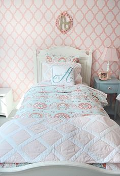 big girl room, accent wallpaper on one wall