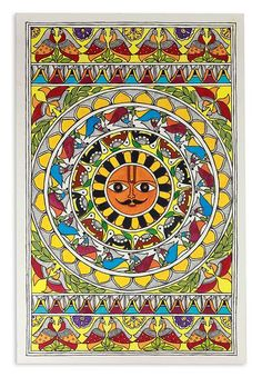 Madhubani painting, 'Happy Surya'