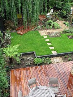 Terraza integrada a un bello jardín