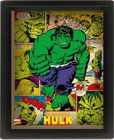Marvel Retro Cadre Lenticulaire x cm - Hulk Frame Wall Decor, Wood Wall Decor, Frames On Wall, Wall Art, Room Decor, Marvel Gif, Hulk Marvel, Marvel Comics, Ms Marvel
