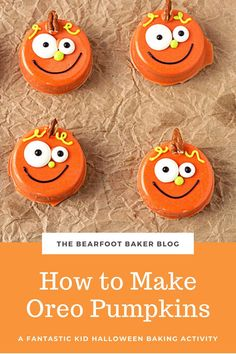 These chocolate covered Oreos make cute fall or Halloween pumpkin treats! Make these as Halloween cookies with your kids, or bring these treats as a fall party dessert. Cute chocolate covered Oreos have never been so easy! Visit the blog for the full tutorial on how to make these pumpkin cookies out of chocolate and Oreos! #thebearfootbaker #halloweencookies #halloweenpartyfood #halloweentreat ideas Halloween Cookies, Halloween Pumpkins, Halloween Decorations, Halloween Treats To Make, Halloween Food For Party, Pumpkin Cookies, Sugar Cookies, Chocolate Covered Oreos, Party Desserts