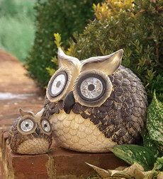 Our decorative Solar Owl Pair is perfect for your outdoor spaces. White LEDs in the . Garden Owl, Lawn And Garden, Lawn Ornaments, Garden Ornaments, Wind Spinners, Water Plants, Diy Projects To Try, Outdoor Lighting, Illustrations Posters