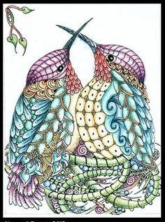 Colorful hummingbird art