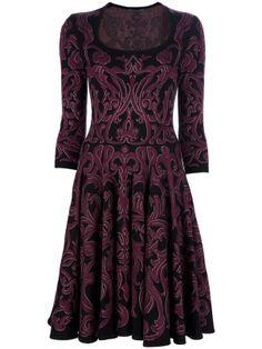 Alexander McQueen » Patterned Dress #dress #sleeves #aline #purple #burgundy #black #print #pattern #kneelentgh #mcqueen #pleated