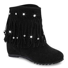 Fringe Hidden Wedge Short Boots - BLACK 38